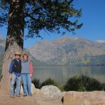 Paul & me: One last look at the view from the old JY Ranch across Phelps Lake.