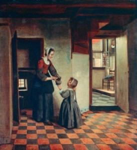 Woman with a Child in a Pantry, c1660, Pieter de Hooch, (1629-1684 Dutch)
